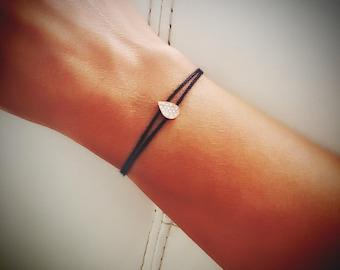 teardrop bracelet, diamond bracelet, gold braclet, thin bracelet, string bracelet, drop bracelet, black string bracelet, minimalist bracelet