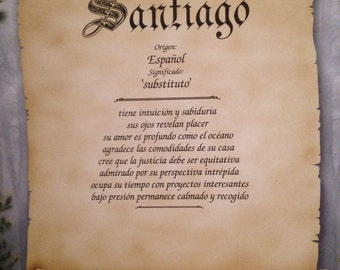 Spanish First Name Meaning Art Print Santiago Personalized Home Decor