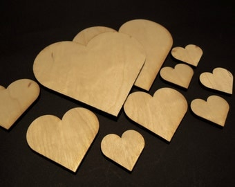 Wooden Heart for Crafts - Laser Cut - Wedding Hearts - Wooden Hearts - Personalised Hearts