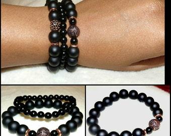 Unisex 10mm Black Onyx & Copper Geometric Bead Bracelet Set, Mens Bead Bracelet, Gift Women's Yoga Boho Trendy
