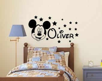 Awesome Mickey Mouse Name Wall Decal Quote Kid Name Decal Children Bedroom Decor  Kids Part 4