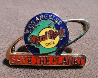 Los Angeles Hard Rock Cafe save the planet   pin brooch  souvenir restaurant