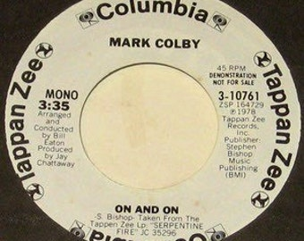 "Make Colby - On and On 7"" vinyl record PROMO copy 45"