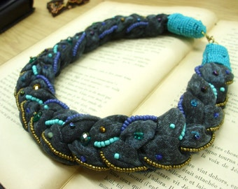 Braided and Embroidered Necklace