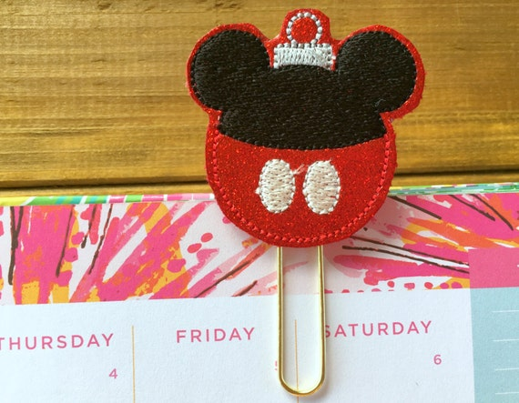 Mickey Ornament Planner Paper Clip!  Christmas Planner Clip or Bookmark Stationery Accessory Holiday Planner