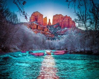 Snowy Sedona Sunrise - Cathedral Rock