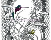 """Bird and Bee - 11""""x14"""" PRINT of Ink and paper original"""