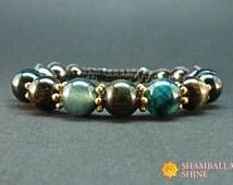 Teal bracelet Dark green jewelry Teal agate Golden bead bracelet Sparkly golden Perfect bracelet Blue green Calming Bracelet Healing jewelry