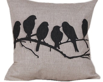 Birds Pillow Cover//Birds On Branch Pillow Cover//Square Pillow//Home Decor//Pillow  Designs//Pillows For Bed//Pillows For Couch
