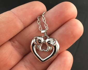 Beautiful Silver Tone Elephant Love Heart Shaped Pendant