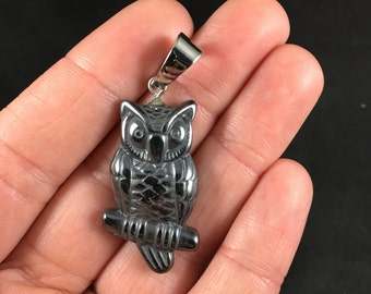 Black Carved Magnetic Hematite Stone Perched Owl Pendant