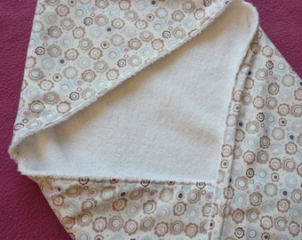 Cute white bathcape, shawl, wrapping cloth, wrapper with flowers