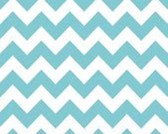 Medium Chevron Aqua cotton fabric by Riley Blake Designs