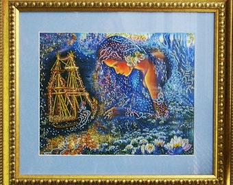 Ship of your dreams -  Handmade picture embroidered with beads, Framed picture, Beadwork, Embroidered picture, Homedecor, Crosstich, Bordado