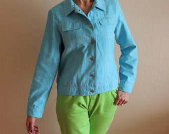 Light Blue Jacket Women's Jacket Summer Cropped Jacket Button Up Medium Size