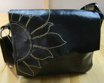Bag No6 - Hand stitched black leather bag, cross body, OOAK