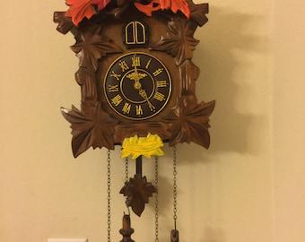 Vintage Antique Wooden Vollmond Cuckoo Clock
