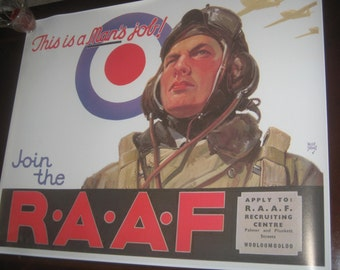 "WW2 Propaganda Poster Repro ""RAAF"" British WWII vintage aviation recruiting"