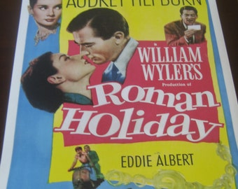 Roman Holiday Movie Poster 24x36in Audrey Hepburn Gregory Peck