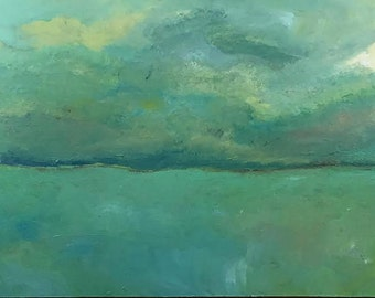 Beautiful Soft Green Abstract Landscape Painting ( 34 x 17)