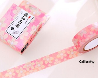 Pink Flower Japanese Washi Tape, Pink Masking Tape, Washi, Planner Stickers, Decorative Tape