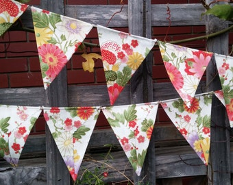 Bunting Oriental design on a cream background - bunting, flags or banner for child's bedroom, garden, birthday festive any ocassion