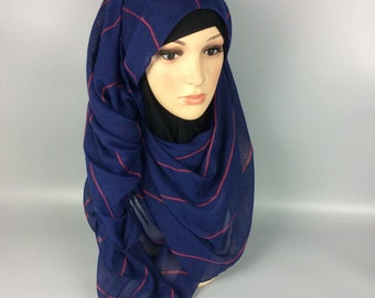 Navy Large Maxi Long Wide Striped Viscose Scarf/Hijab Shawl/Wrap