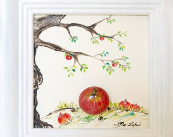 3D stone image painted with oil paint: stone Apple, Apple tree