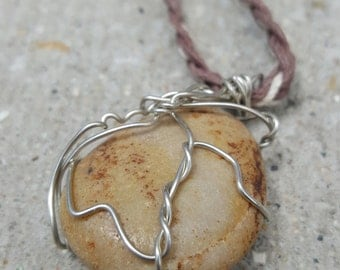 Brown/Light Brown/Cream/ Dark Cream Wire Wrapped River Stone/ Rock Brown/White/Cream Hemp Necklace
