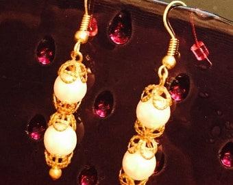 Double Pearl W/ Metal Lace Dangle Earrings