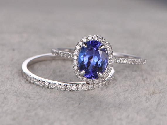 oval tanzanite wedding ring setsengagement. Black Bedroom Furniture Sets. Home Design Ideas