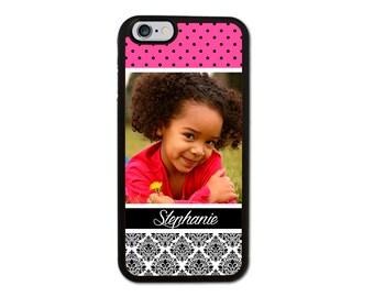 Custom Photo Damask and Polka Dot Designer Iphone 6/6S/6 Plus, 5/5S, 5C, 4/4S Personalized Case