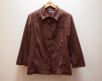 70s Vintage Brown Vegan Suede Jacket