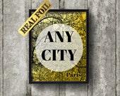 Custom map art print Gold Foil Print, USA, England  Real Foil Print, City Map, World map , Wall Art, Line Art