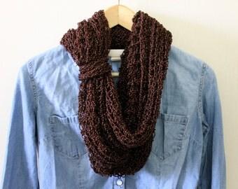 Bronze Scarf, Copper Scarf, Metallic Scarf, Crochet Infinity, Cowl Scarf, Lightweight Scarf, Summer Scarf, Handmade Scarf, Knitted Scarf