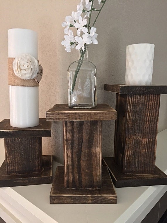 SET of 3- Shabby Chic Distressed Pillar Candle Holders | Fixer Upper | HGTV |