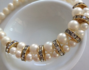 Vintage Pearl Style Beads with Gold  Tone Metal and Rhinestones Necklace