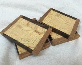 Wood Coasters- Cherry, Walnut & Pine Wood - FREE SHIPPING
