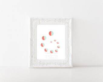 Abstract Coral and Mint Swirl Print