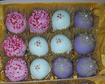 1 dozen (12) assorted cake truffles - low fat &  lower calorie alternatives cake pop