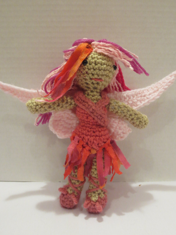 Pink shabby fairy crochet amigurumi doll