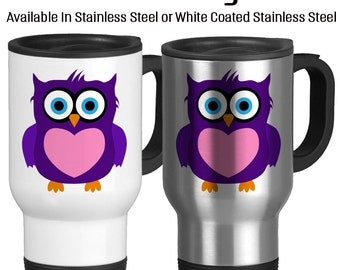 Travel Mug, Completely Customizable Owl Mug Cute Owl Choose Your Colors, Gift Idea, Stainless Steel 14 oz Coffee Cup