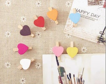 100pieces Promotion Free shipping Heart Design Mini Wooden Clips /Wooden Bookmark Pegs/Scrapbooking Wooden Pegs/Mini Wooden Pegs