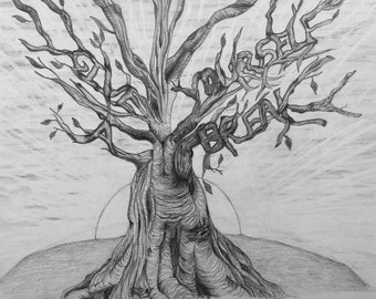 Tree Meditation Drawing Print