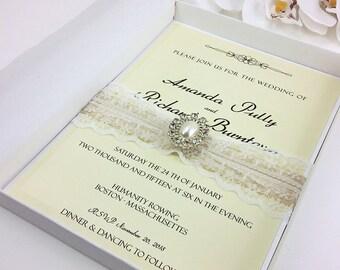 Luxury Wedding Invitation, Boxed Wedding Invitation, Elegant Wedding Invitations, Lace Pearl Invitation, Rhinestone, Pearl, 1 INVITATION