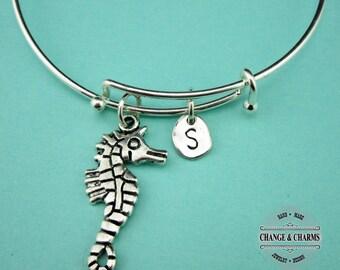 Seahorse Bangle, Seahorse Bracelet, Seahorse Charm, Beath Theme Bracelet, Bracelet, Bangle, Silver Plated Bangle, Personalized,Initial Charm