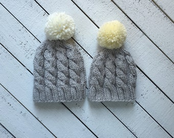 Gender Neutral Baby Hat Grey Cable Baby Hat Grey and Cream Baby Hat Grey and Yellow Hat Going Home Outfit Neutral Baby Shower Gift Baby Gift