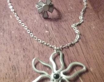 sterling silver necklace and ring .925 silver