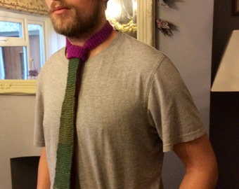 Knitted Tie #2 - magenta and green