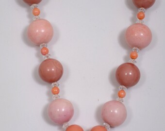 "19"" Multi Bead Necklace with Pendant, handmade"